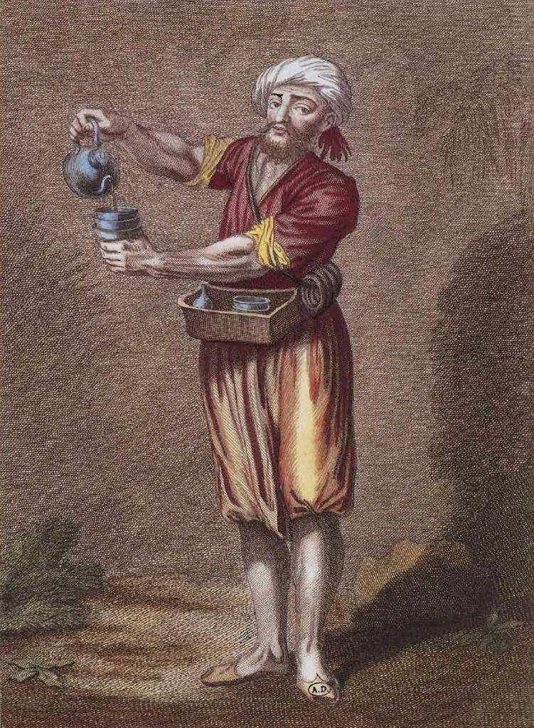 Vendeur de café ambulant à Istanbul au début du XVIIIe siècle.