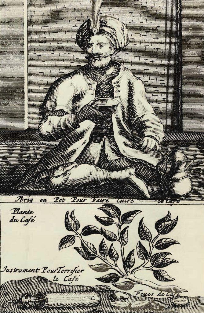 Du plant de caféier à la dégustation en passant par la torréfaction, gravure du XVIIe siècle.