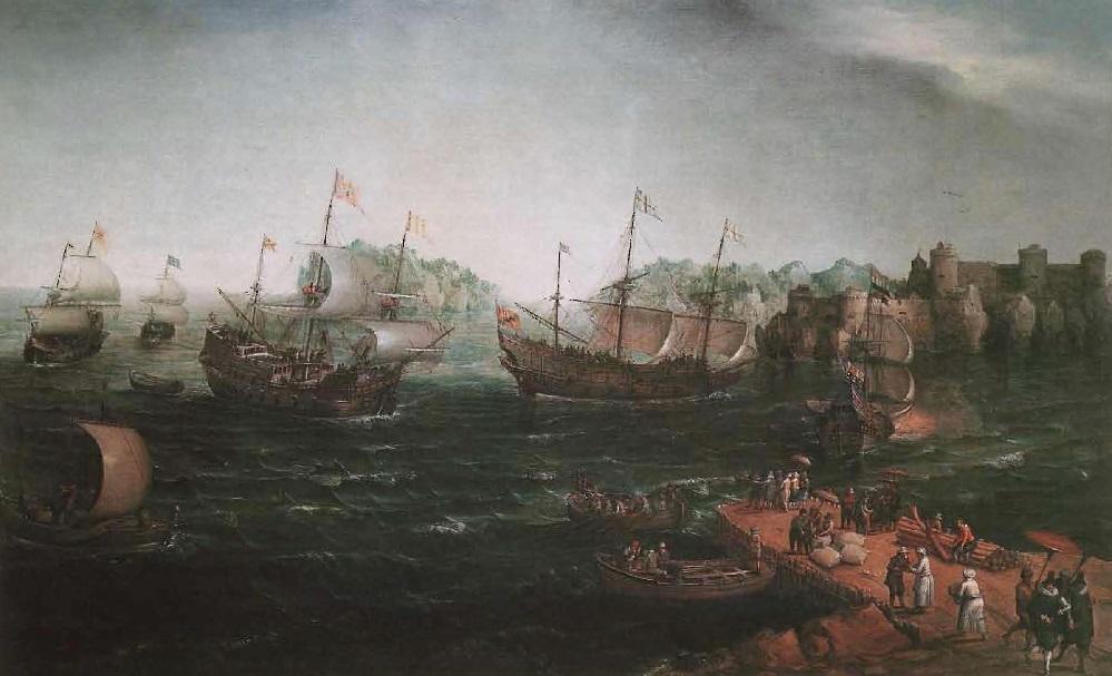 Dès que les Hollandais brisèrent le monopole arabe, le café se propagea dans toutes les parties du monde, peinture de H. Vroom, 1640.
