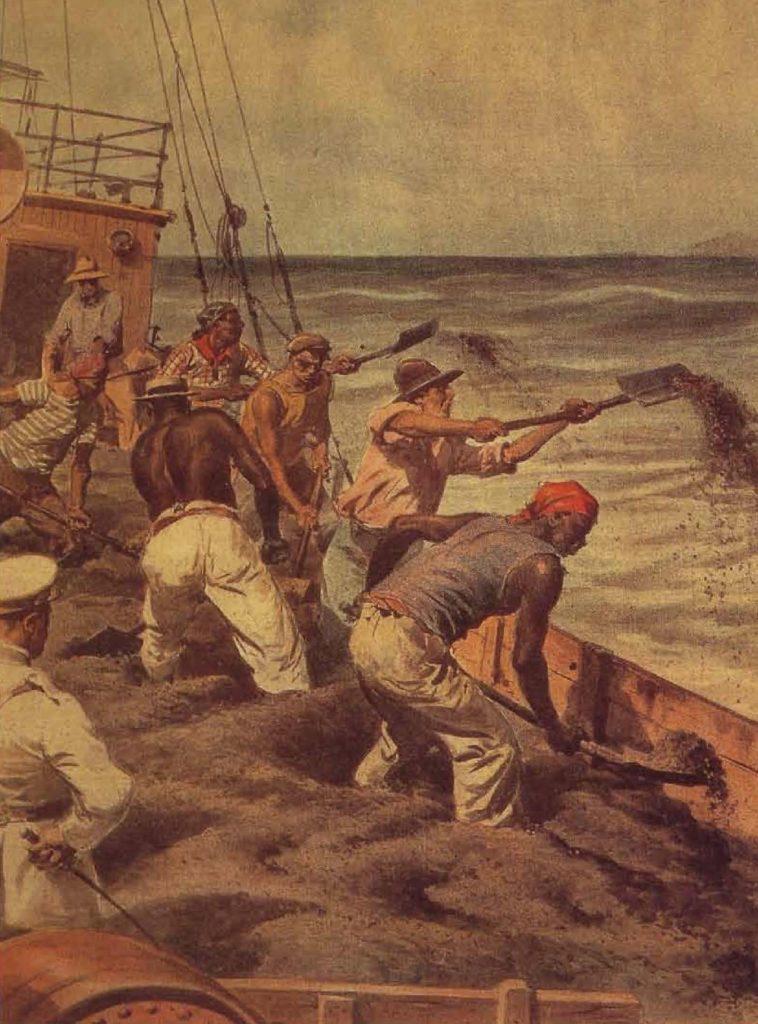 Dans certains cas, les marchands ordonnaient aux ouvriers de jeter le café à la mer afin d'éviter que les prix ne baissent, illustration, Brésil, 1932.
