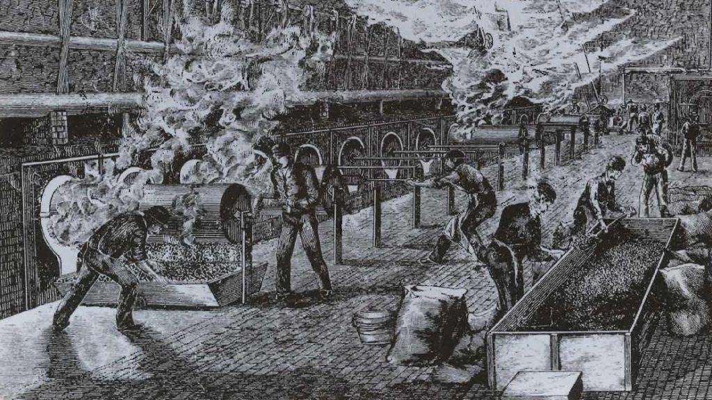 La torréfaction de café importé dans une usine anglaise, gravure, 1870.