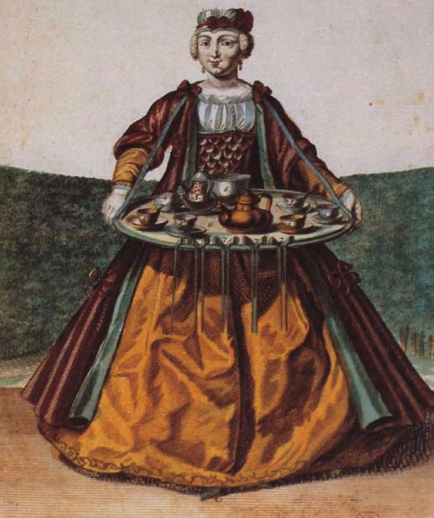 Marchande de café, Paris, illustration de M. Engelbrecht, vers 1735.