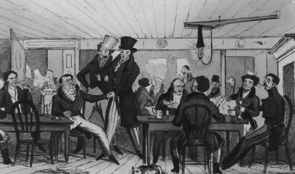 Scène de discussion fort animée à l'intérieur du café Offley's, vers 1820.