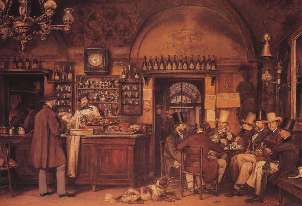 Le Café Greco à Rome, peinture de Ludwig Passini (1832-1903).
