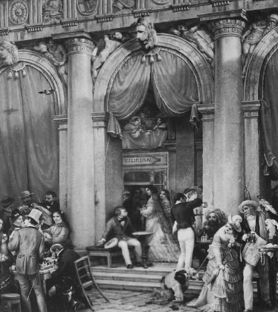 Dégustation de café sur les marches du café Florian à Venise, début du XlXe siècle.