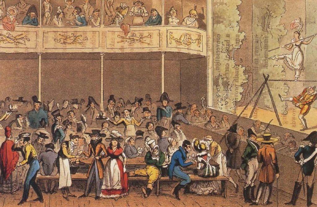 Divertissement et café au Café de la Paix, gravure de La Vie parisienne par David Carey, 1822.