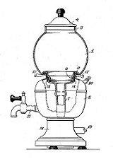 """1936 - Dessin de brevet pour le Farberware électrique """"Robot Café"""""""