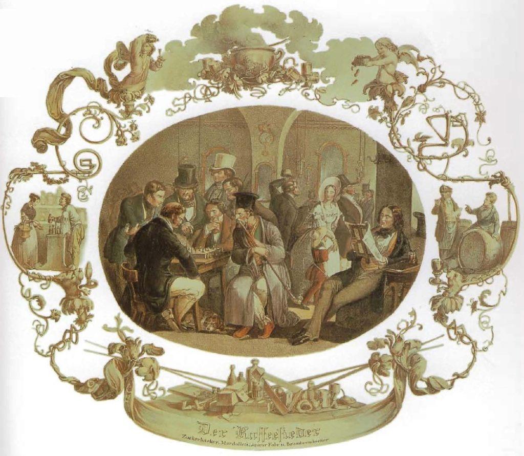 Le Cafetier, scène de café viennoise avec des joueurs d'échecs, un Arménien qui fume et un lecteur de journaux, vers 1840.