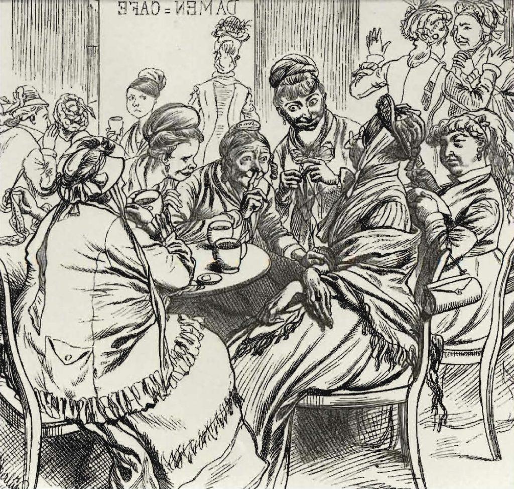 Scène de café allemande, avec une clientèle exclusivement féminine, 1880.