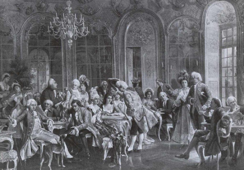 Une maison de café pour Européens aisés, gravure de Von August Hermann Knopp, 1856.