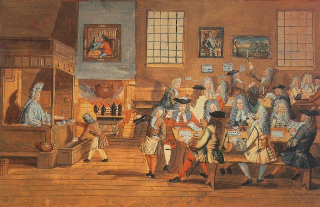 Une maison de café anglaise, artiste anonyme, 1668.