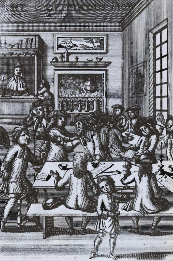 Altercations dans un café anglais, vers la fin du XVIIe siècle.