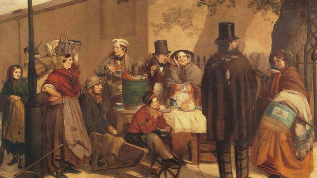 Éventaire de café, vers 1860, peinture de C. Hunt, 1881.