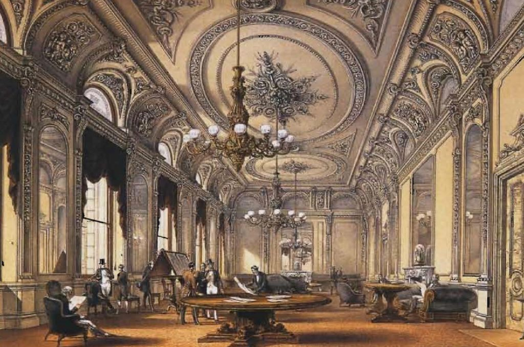 Les somptueux intérieurs du Club de l'armée et de la marine, à Londres. Lithographie de Robert Kent Thomas.