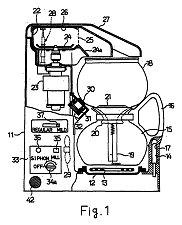 Brevet de 1989 de Toshiba - Dessin pour une cafetière sous vide avec moulin à café intégré