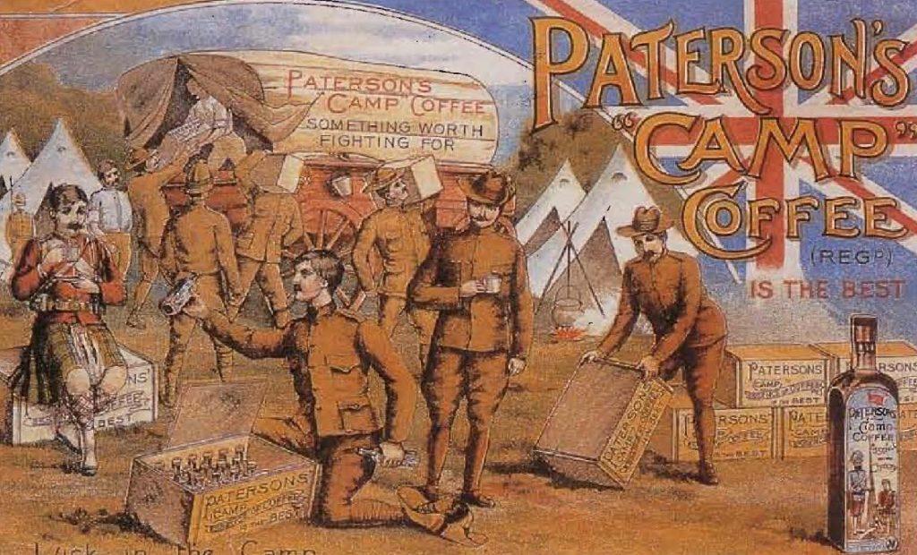 Publicité pour l'extrait de café « Camp » de Paterson 's, 1890.