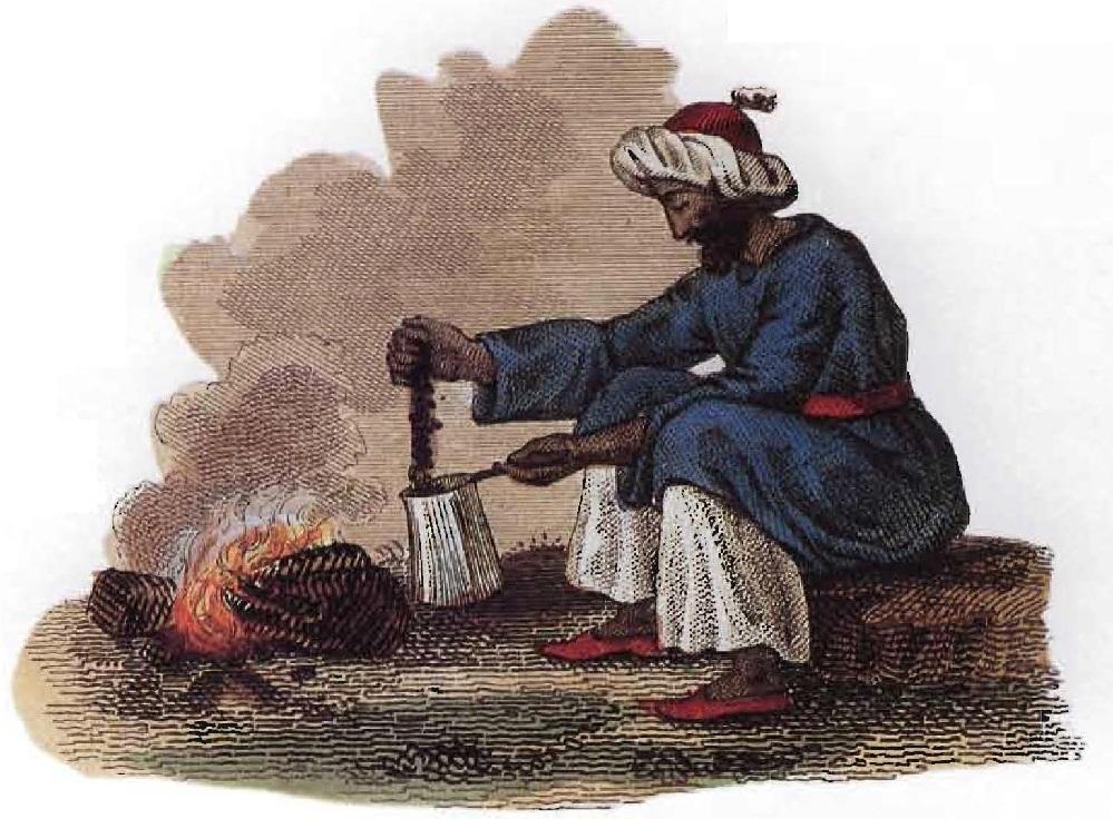 Illustration montrant comment les Arabes préparaient le café sur le feu.