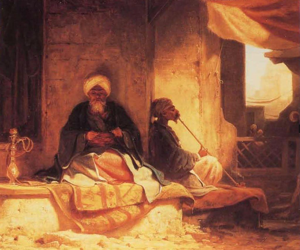 """Sur les marches d'une maison de café turque, début du XIX"""" siècle."""