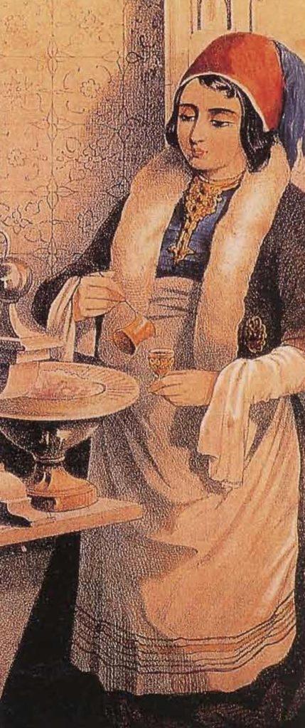 Domestique turque préparant le café à la maison.