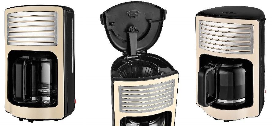 TKG Machine à Café Filtre Design de Couleur 1.8 L (15 Tasses) W, 1000 W, 1.8 Liters, Crème